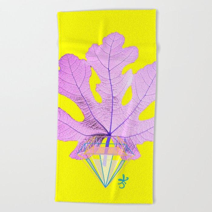 Fig Leaf Diamond Christmas Yellow Golden Beach Towel
