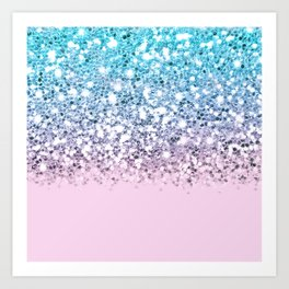 Sparkly Unicorn Blue Lilac & Pink Ombre Art Print