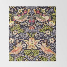 William Morris Strawberry Thief Art Nouveau Painting Throw Blanket
