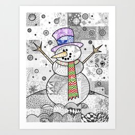 Coloured Snowman Art Print