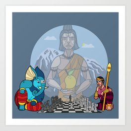 Ganesha plays Chess Art Print