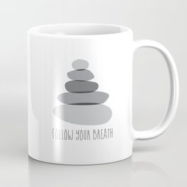 """Cairn Stones """"Follow Your Breath"""" Mindfulness Quote Coffee Mug"""