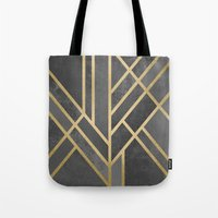 deco Tote Bags featuring Art Deco Geometry 1 by Elisabeth Fredriksson