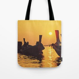 Longtail Thai boats @ sunset Tote Bag