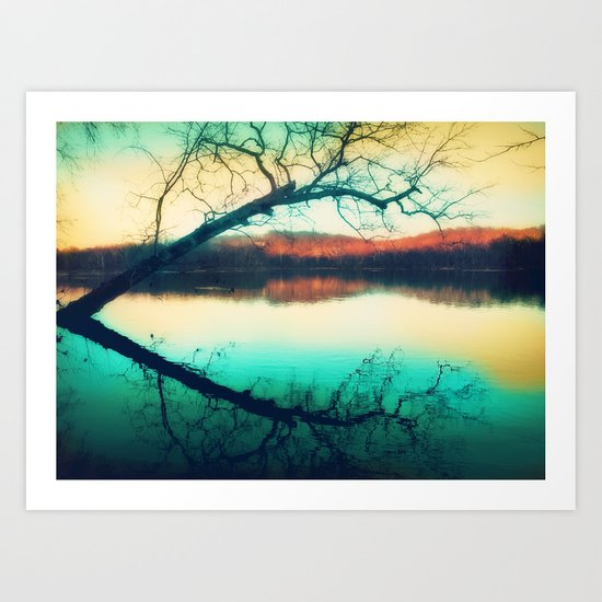 Sunrays mark the landscape Art Print
