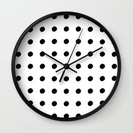 Black dots on white background Wall Clock