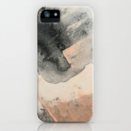 Peace and Quiet [2]: a pretty, minimal abstract piece in gray and peach by Alyssa Hamilton Art iPhone Case