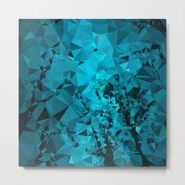 Teal Geometric Pattern Metal Print
