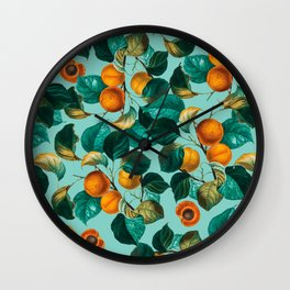Peach and Leaf Pattern Wall Clock