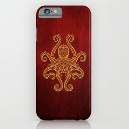 Intricate Red and Yellow Octopus iPhone Case