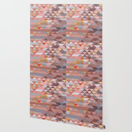 Triangle Pattern no.5 Gold, Pink and Brown Wallpaper