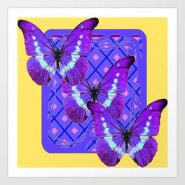 Three Purple Butterflies on Purple &Yellow Pattern Art Print