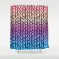 knit Shower Curtains featuring Rainbow Gradient Chunky Knit Pattern by micklyn