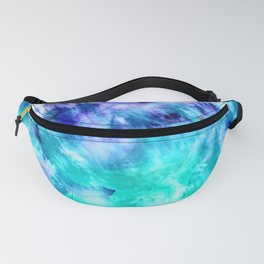 modern boho blue turquoise watercolor mermaid tie dye pattern Fanny Pack