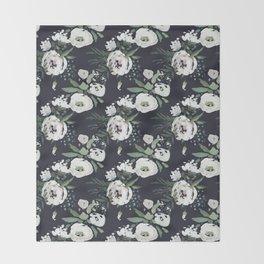 Blush pink white green black watercolor modern floral Throw Blanket