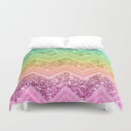 Rainbow Glitter Chevron #1 #shiny #decor #art #society6 Duvet Cover