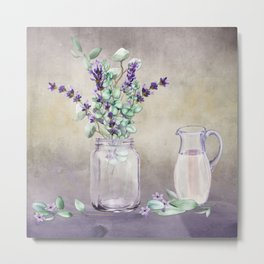 Country Lavender and Eucalyptus Metal Print
