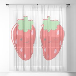 Wink Strawberry Sheer Curtain