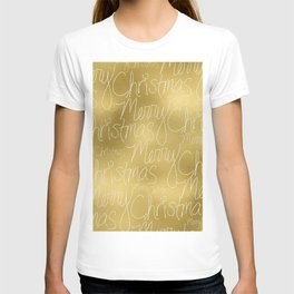 Merry christmas- christmas typography on gold pattern T-shirt
