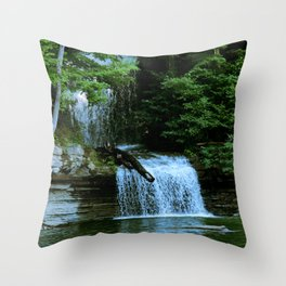 Over By the Waterfall Throw Pillow