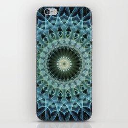 Mandala in light reen and blue tones iPhone Skin