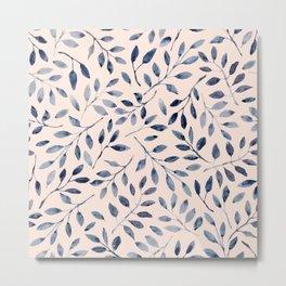 Blue grey leaves watercolor pattern Metal Print