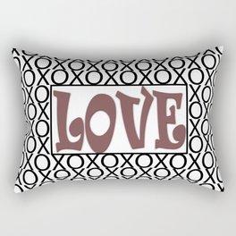 Pantone Red Pear LOVE XOs (Hugs and Kisses) Typography Art Rectangular Pillow