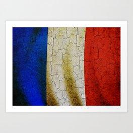 Cracked France flag Art Print