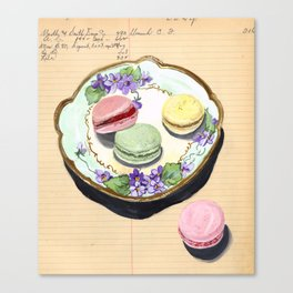 Macarons on an Antique Plate in Gouache Canvas Print
