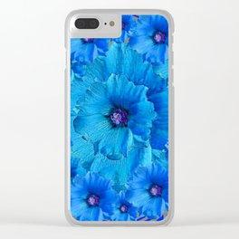 CERALIAN BLUE HOLLYHOCKS ART DECO ABSTRACT Clear iPhone Case