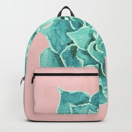 Watercolor Green Succulent On Pink Backpack
