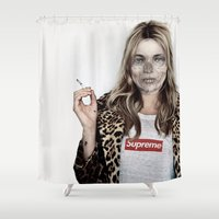 kate moss Shower Curtains featuring Hell Moss by Katieb1013