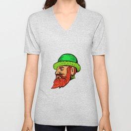 Hipster Wearing Bowler Hat Etching Color Unisex V-Neck