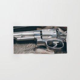 Closeup of powerful handgun. Pistol Revolver Handgun Hand & Bath Towel