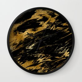 Luxury and sparkle gold glitter and black marble Wall Clock