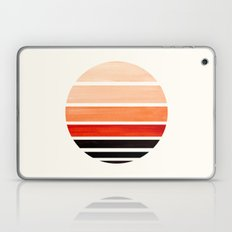 Burnt Sienna Mid Century Modern Minimalist Circle Round Photo Staggered Sunset Geometric Stripe Desi Laptop & iPad Skin