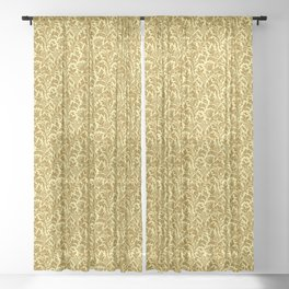 William Morris Thistle Damask in Mustard Gold Sheer Curtain
