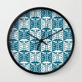 Mid Century Modern Butterfly 771 Peacock Blue Wall Clock