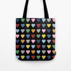 64 Hearts Black Tote Bag