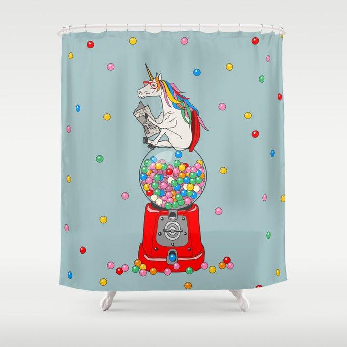 Unicorn Gumball Poop Shower Curtain