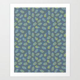 Leaves on Blue Gray Art Print