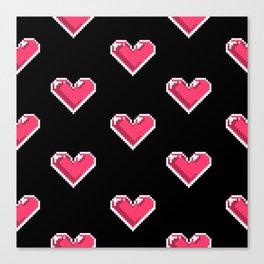 Pixel Hearts Pattern Canvas Print