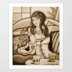 Woman and Cat Art Print