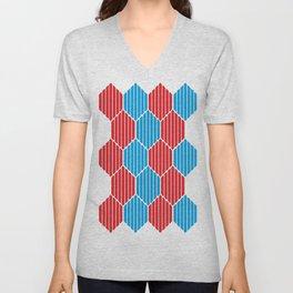 Blue red lozenges Unisex V-Neck