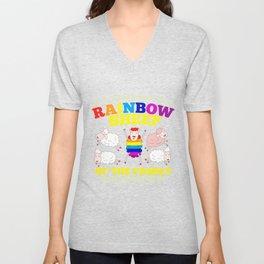 LGBT pride rainbow sheep family gift Unisex V-Neck