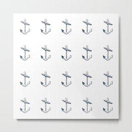 Nautical Marine Anchor Sailor Seamless Pattern Metal Print