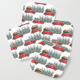 Corgis in car in winter forest Coaster