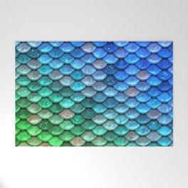 Aqua Teal & Green Shiny Mermaid Glitter Scales Welcome Mat