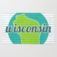 wisconsin Area & Throw Rugs featuring Words of Wisconsin by Katherine Paulin