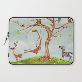 Tree with animals.Bunch of cute little creatures gathered on the branches of tree Laptop Sleeve